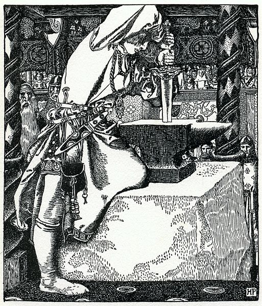 Arthur Pyle: How Arthur drew forth ye sword from The Story of King Arthur and His Knights (1903) via WikiCommons