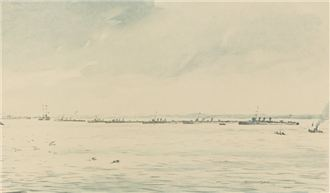 A Line of Destroyers, 1917 by Muirhead Bone (1876 – 1953) Lithograph, published by Country Life Ltd, 1917