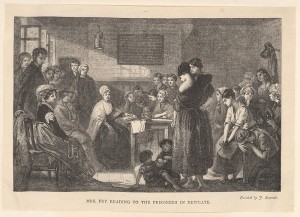 Wood engraving of Elizabeth Gurney Fry reading to prisoners in Newgate Prison, London, from Bodleian Library, Oxford, via WikiCommons