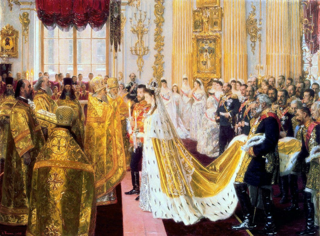 Wedding of Alexander II and Princess Alix of Denmark in 1894 by Laurits Tuxen in The Hermitage. The future Edward VII is amongst those attending. Via Wikicommons.. ( http://gallerix.ru )