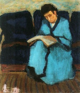 Old Woman Reading by Sandor Galimberti 1907 via WikiCommons.