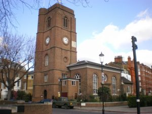 Chelsea Old Church, Cheyne Walk Restored (albeit it red brick) and re-consecrated (1958) after severe blitz damage in 1941 by Alexander P Kapp via Wiki Commons