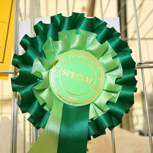 Rosette from Cornwall Agricultural show by Matnkat, via WikiCommons