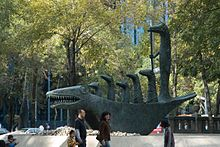 Cocodrilo on Paseo de la Reforma.The statue was donated to Mexico City by Carrington in 2000 and was moved to its current location in 2006