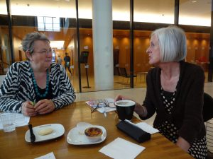 Eileen and Marianne discussing writing points for The New Age of Ageing