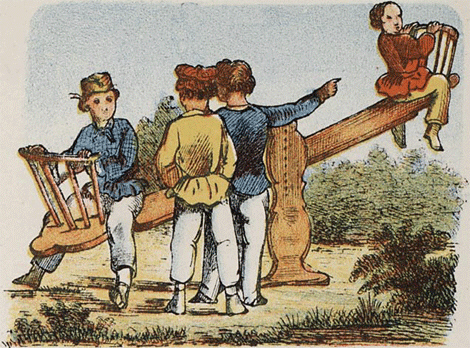 Seesaw: 1860s Jongensspelen (Dutch) via WikiCommons